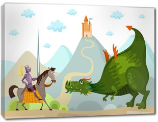 Obraz na płótnie canvas - dragon and knight