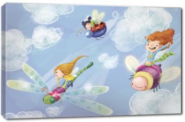 Obraz na płótnie canvas - niñas volando