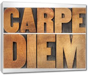 Obraz na płótnie canvas - Carpe Diem in wood type