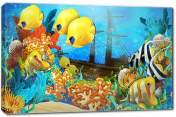 Obraz na płótnie canvas - The coral reef - illustration for the children