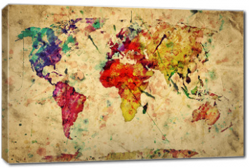 Obraz na płótnie canvas - Vintage world map. Colorful paint, watercolor on grunge paper