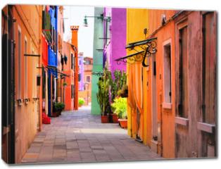 Obraz na płótnie canvas - Colorful street in Burano, near Venice, Italy
