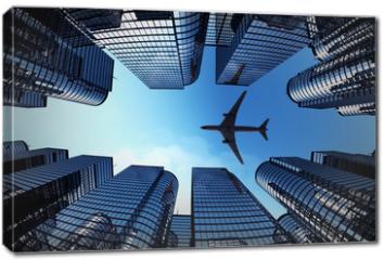 Obraz na płótnie canvas - Business towers with a airplane silhouette