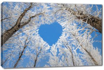 Obraz na płótnie canvas - Winter landscape,branches form a heart-shaped pattern