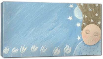 Obraz na płótnie canvas - Little girl dreaming in the garden