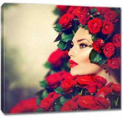 Obraz na płótnie canvas - Beauty Fashion Model Girl Portrait with Red Roses Hairstyle
