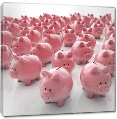 Obraz na płótnie canvas - Sparschweine Gruppe - Geld sparen / 3D Illustration