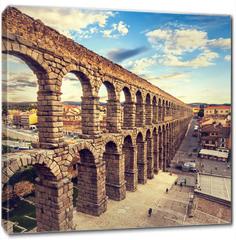 Obraz na płótnie canvas - The famous ancient aqueduct in Segovia, Castilla y Leon, Spain