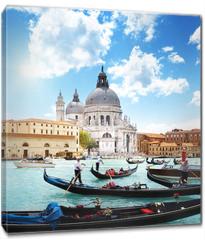 Obraz na płótnie canvas - gondolas on Canal and Basilica Santa Maria della Salute, Venice,