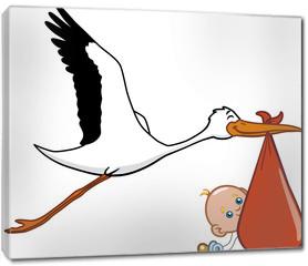 Obraz na płótnie canvas - Stork and baby