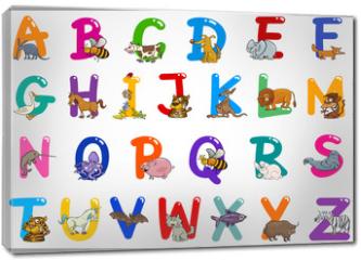 Obraz na płótnie canvas - Cartoon Alphabet with Animals Illustrations