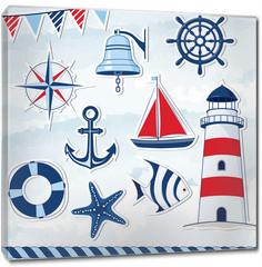 Obraz na płótnie canvas - Nautical design elements