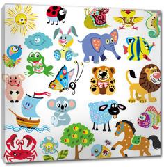 Obraz na płótnie canvas - set  with pictures for children