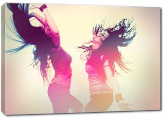 Obraz na płótnie canvas - dancing girls with light effect / disco disco 02