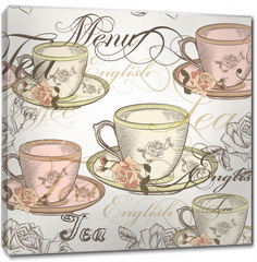 Obraz na płótnie canvas - 14)Seamless vector wallpaper design in vintage style