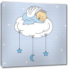 Obraz na płótnie canvas - baby boy sleeping on a cloud. Birthday Card