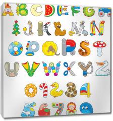 Obraz na płótnie canvas - English alphabet and numerals with toys