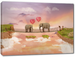 Obraz na płótnie canvas - Two elephants on a bridge in the sky with balloons. Illustration