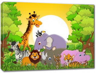 Obraz na płótnie canvas - cute animal wildlife with forest background