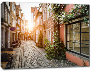 Obraz na płótnie canvas - Historic Schnoorviertel at sunset in Bremen, Germany
