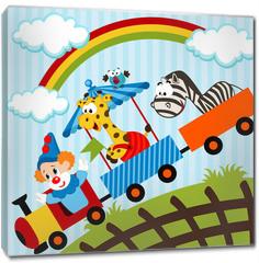 Obraz na płótnie canvas - clown and animals traveling train - vector illustration