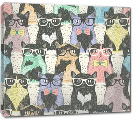 Obraz na płótnie canvas - Seamless pattern with hipster cute cats for children