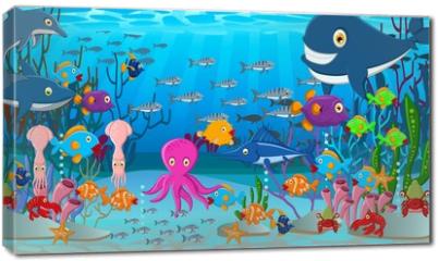 Obraz na płótnie canvas - Sea life cartoon background