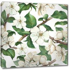 Obraz na płótnie canvas - Pattern with watercolor apple flowers