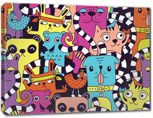 Obraz na płótnie canvas - Seamless pattern with cute funny animals