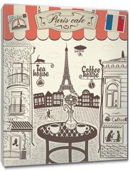Obraz na płótnie canvas - Parisian street restaurant with views of the Eiffel Tower