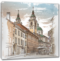 Obraz na płótnie canvas - Vector drawing of central street of old european town