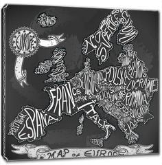 Obraz na płótnie canvas - Europe Map Vintage Handwriting BlackBoard Vector