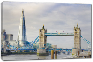 Obraz na płótnie canvas - The Shard and Tower Bridge on Thames river in London, UK
