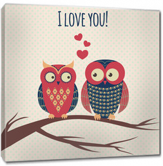 Obraz na płótnie canvas - Vector colorful illustration with two owls in love