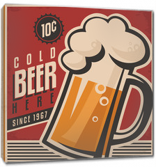 Obraz na płótnie canvas - Retro beer vector poster