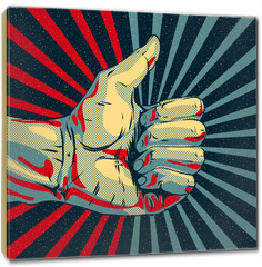 Obraz na płótnie canvas - Hand showing thumbs up, vector Eps10 illustration.