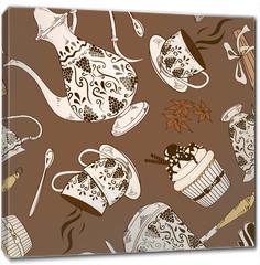 Obraz na płótnie canvas - Seamless pattern of coffee service