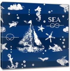 Obraz na płótnie canvas - White print boat and fishes on navy blueseamless pattern