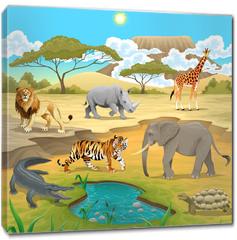 Obraz na płótnie canvas - African animals in the nature.