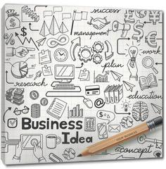 Obraz na płótnie canvas - Business Idea doodles icons set. Vector illustration.