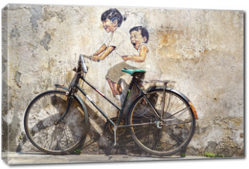 "Obraz na płótnie canvas - ""Little Children on a Bicycle"" Mural."
