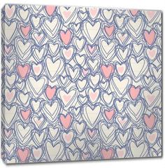 Obraz na płótnie canvas - Seamless pattern with doodle hearts