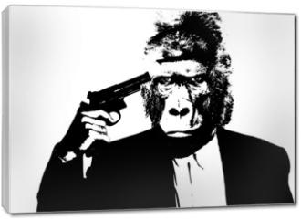 Obraz na płótnie canvas - Suicide man with gorilla head
