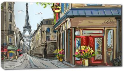 Obraz na płótnie canvas - Street in paris - illustration
