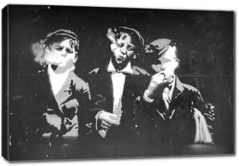 Obraz na płótnie canvas - graffiti chicos fumando 0725-f14