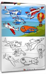 Obraz na płótnie canvas - planes and aircraft cartoon coloring book