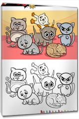 Obraz na płótnie canvas - kittens group cartoon coloring book