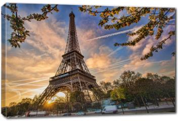 Obraz na płótnie canvas - Eiffel Tower against sunrise  in Paris, France