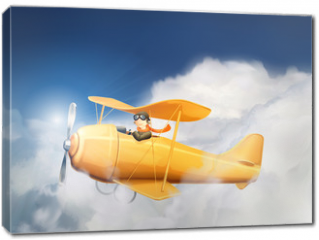 Obraz na płótnie canvas - Aircraft in the clouds, vector illustration