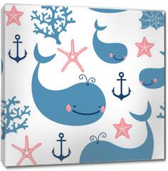 Obraz na płótnie canvas - Seamless pattern with cute whales.